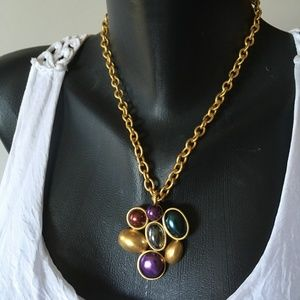 VTG Matte Gold Jewel Tone Pendant and Thick Chain
